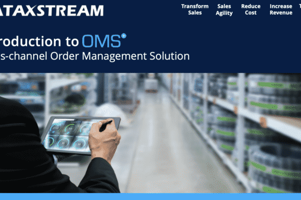 Solution Brief Cover Page, image of a person holding a tablet in a warehouse, text says Introduction to OMS+