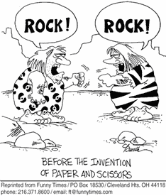 """cartoon image of two cave people playing """"rock, paper, scissors"""" both are yelling """"rock"""" caption reads """"before the invention of paper and scissors"""""""